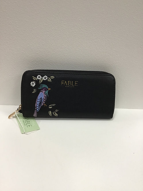 Fable large bird embroidered purse