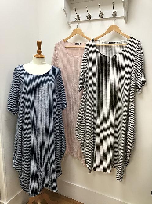 Italian Stripe Cocoon Pocket Dress