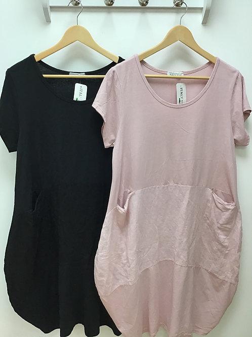 Jersey and linen pocket detail dress