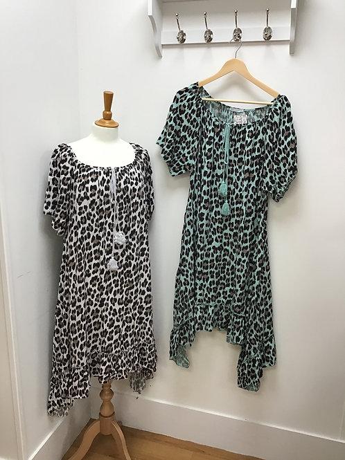 Leopard Frill Bottom Dress