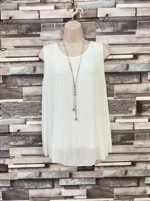 White chiffon top with necklace