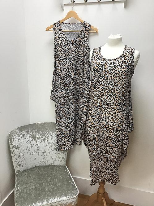 Sleeveless Animal Print Parachute Dress