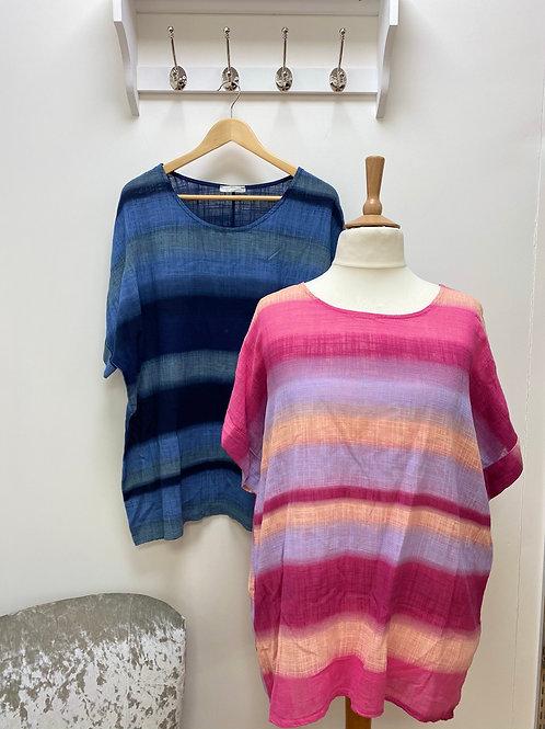Linen look striped T Shirt