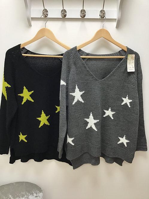 V Neck Wool Mix Star Jumper