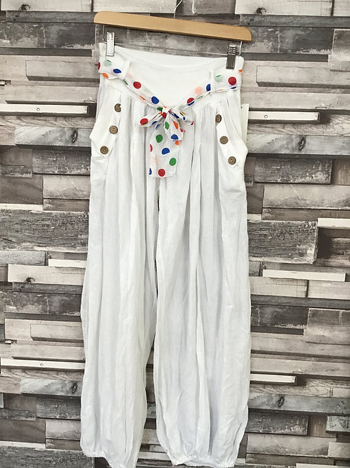 Cotton Harem Pants With Scarf Tie