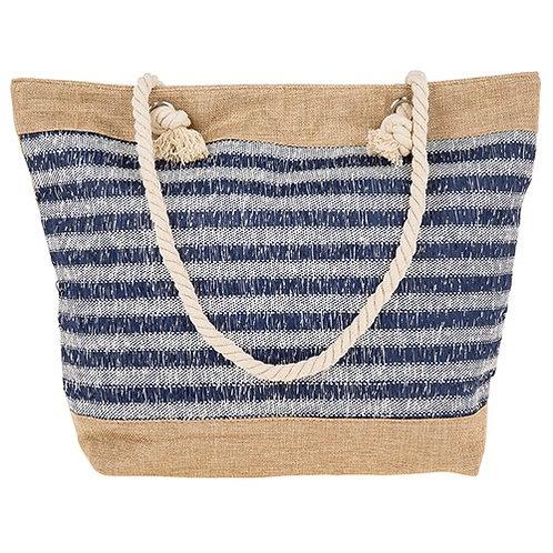 Stripes tote bag blue and white stripe