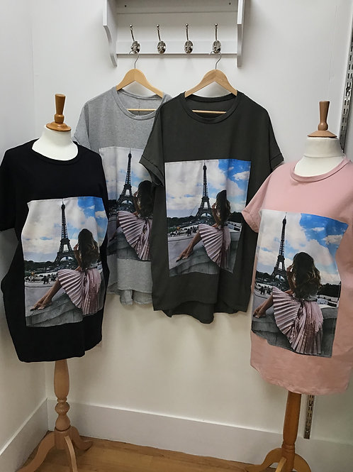 Longer Length Paris T-Shirt