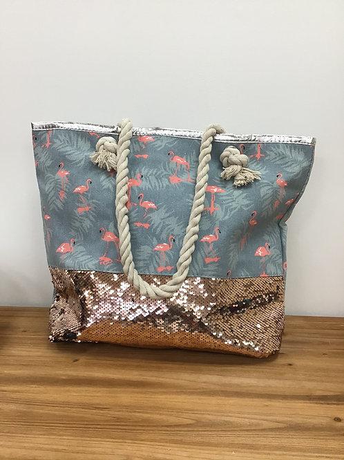 Flamingo Silver Gold Sequin Tote Bag