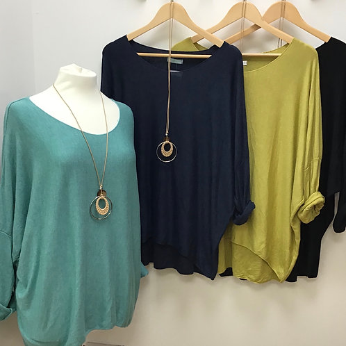 Soft Knit Long Sleeve Jumper With Necklace