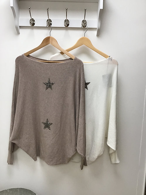 Sparkle star batwing jumper