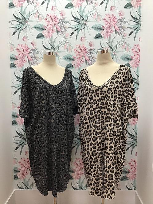 Leopard v neck oversized dress