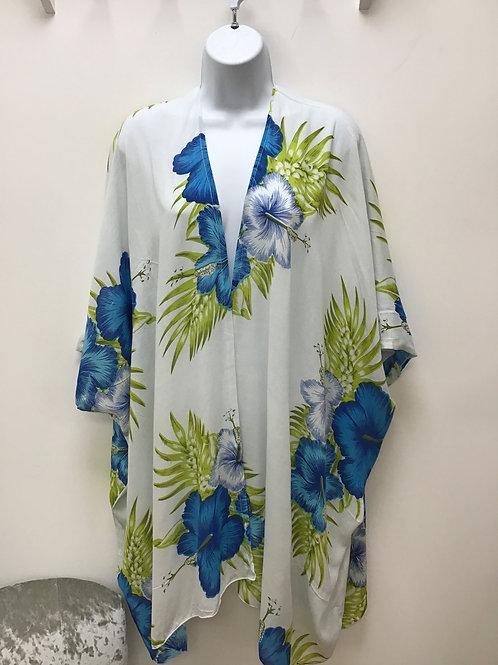 White & Blue Beach Wrap ( Kimono)
