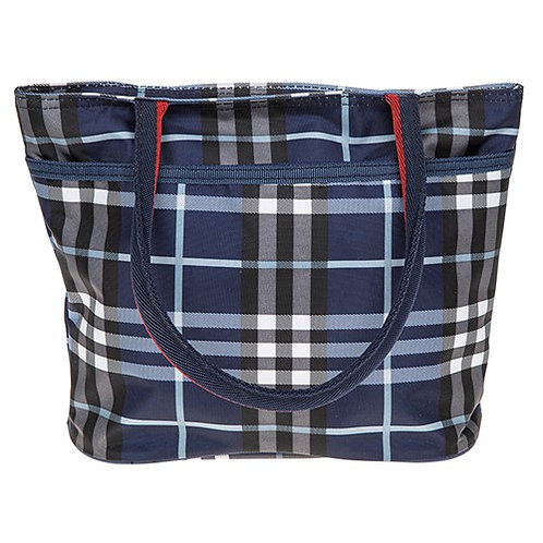 Checked waterproof bag blue