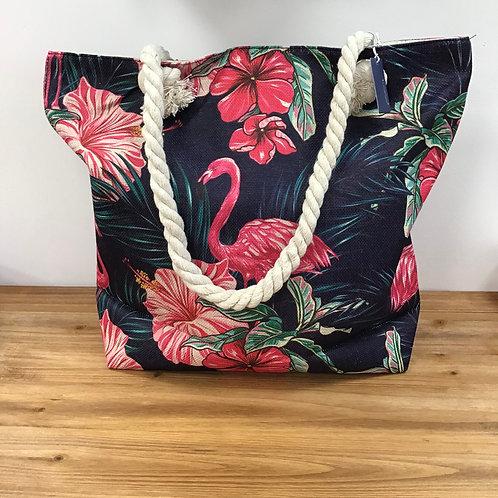 Midnight flamingo tote bag