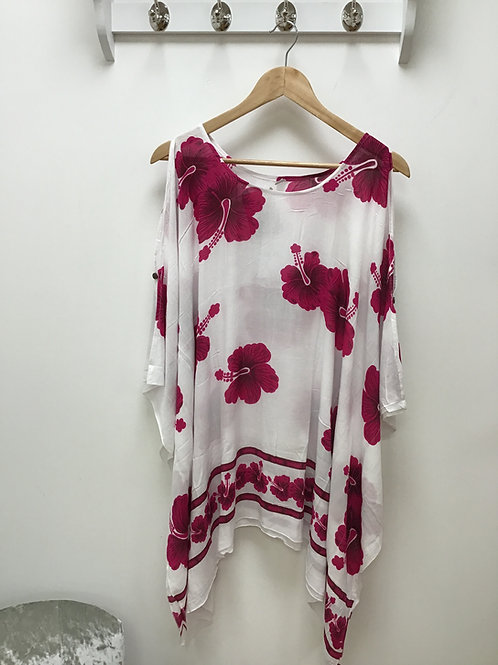 White & Pink Cold Shoulder Top/Beach Poncho
