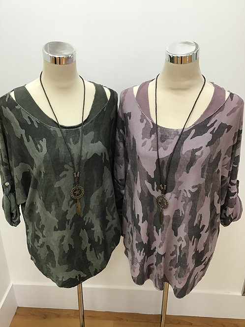 Camouflage Necklace Top