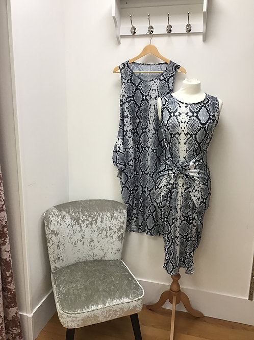 Sleeveless Snake Print Parachute Dress