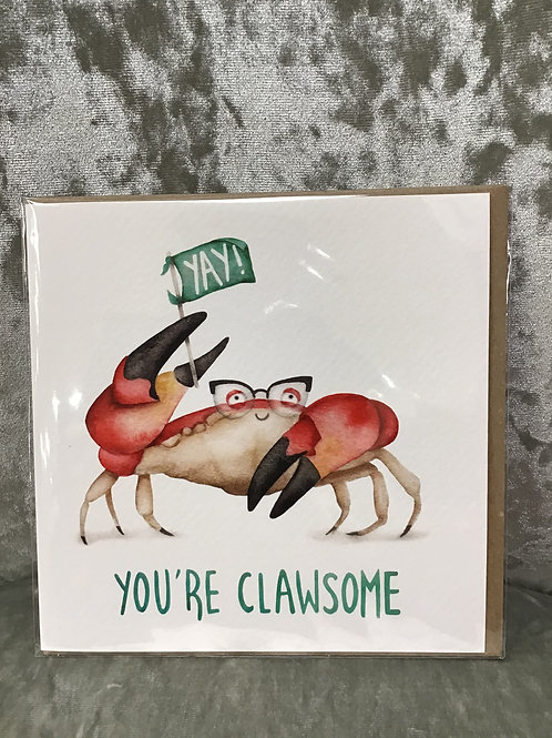 'Yay you're clawsome' card