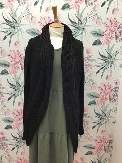 Cocoon Neck Mid Length Cardigan