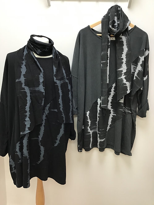 Long Sleeve Tie Dye Tunic With Scarf