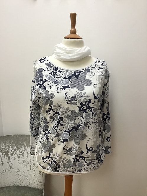 Blue and white flower top with scarf