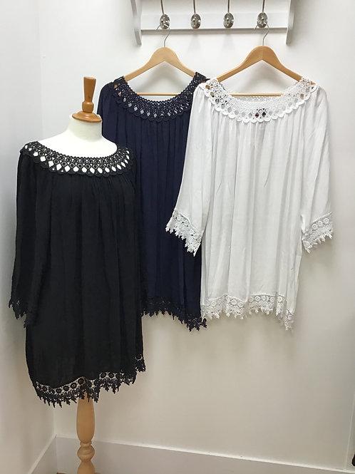 Italian Crochet Trim Gypsy Tunic