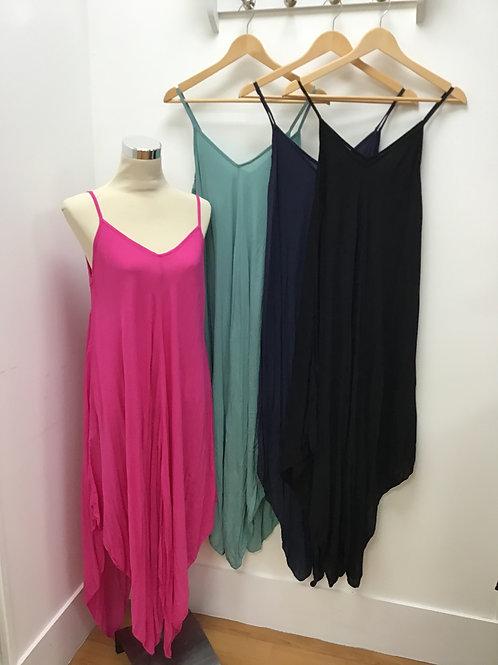 Plain Asymmetric Hem Dress