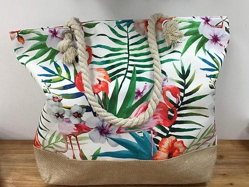 Tropical flamingo tote rattan base bag