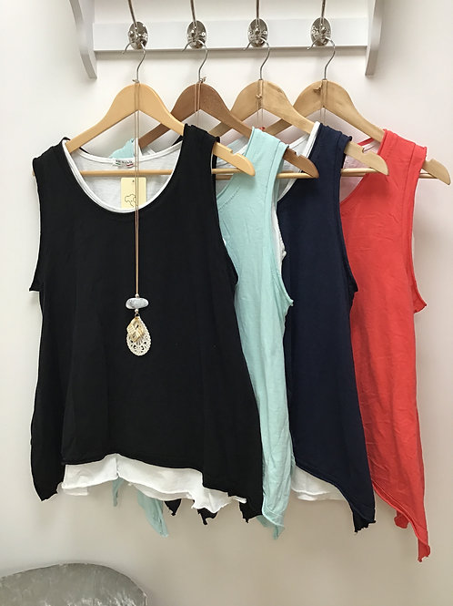 Double Layer Sleeveless Necklace Top