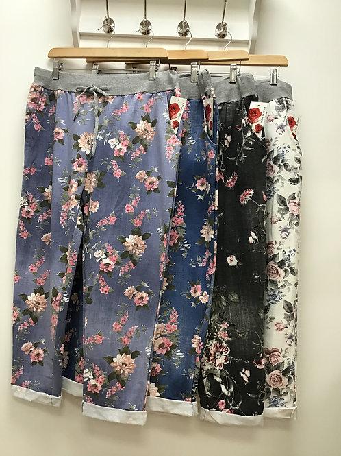 Plus Size Floral Print Cotton Trousers