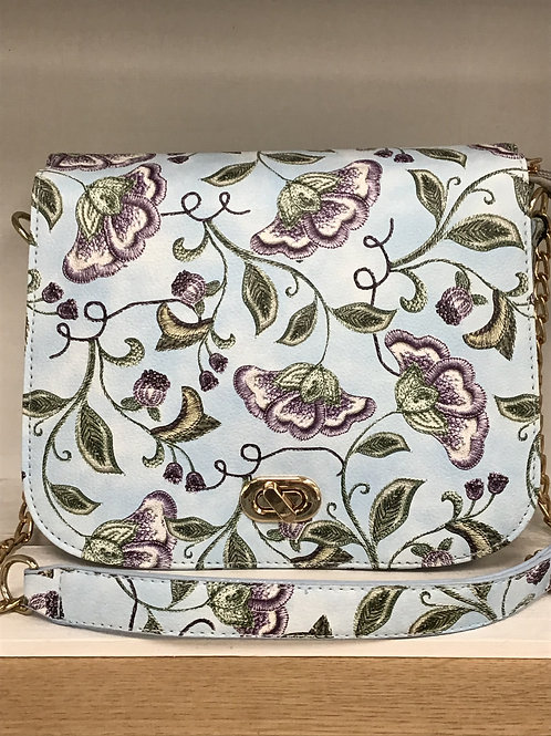 Blue Floral Crossbody Bag
