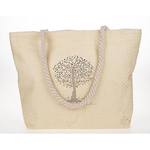 Tree of life studded tote bag