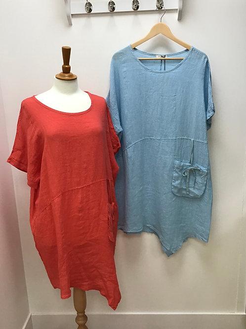 Italian Asymmetric Hem Front Pocket Linen Dress