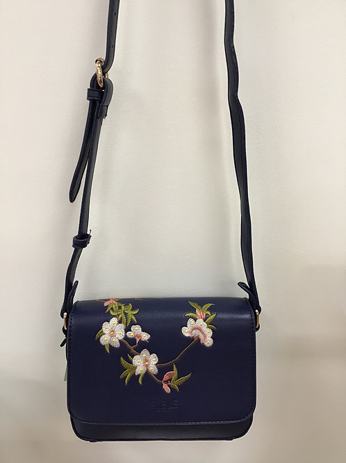 Blue Blossom Embroidered Cross Body Bag