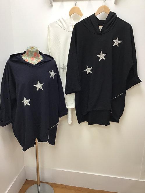 Hi Low Glitter Star Hooded Sweatshirt