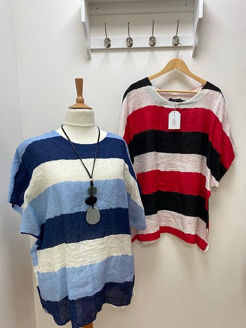 Linen look striped top