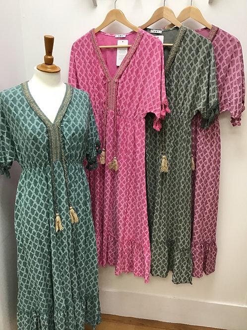 Long tassel detail summer dress