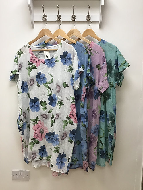 Floral high low two pocket dress