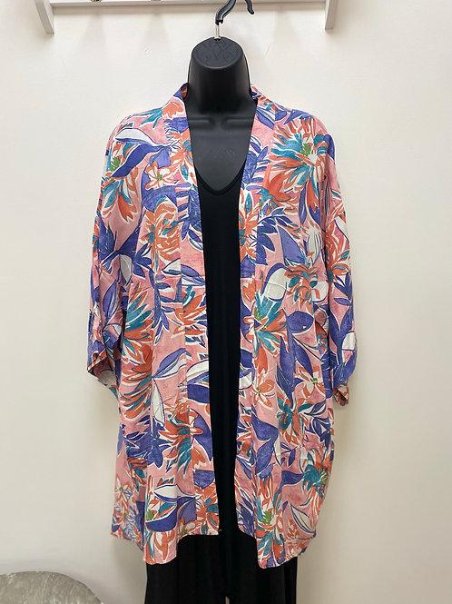 Pink Tropical Print Kimono