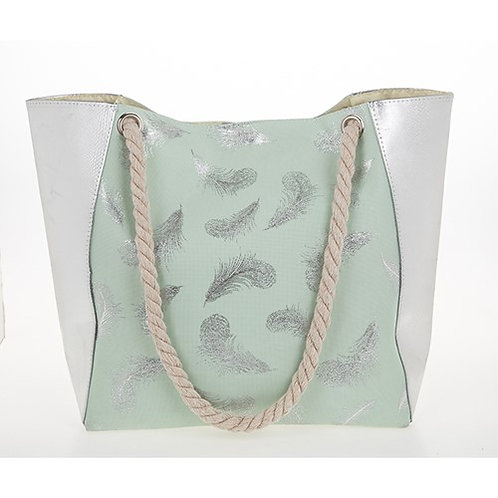 Feather tote bag silver and mint