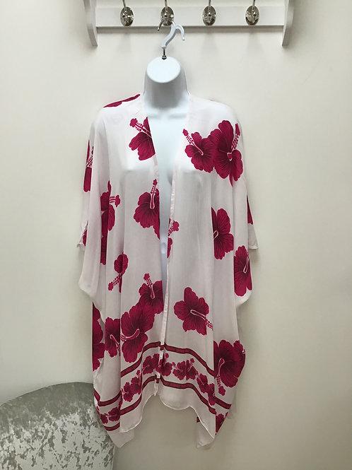 White & Pink Beach Wrap (Kimono)
