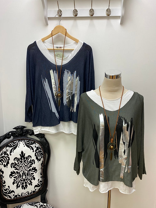 Layered Top with Foil Line Detail