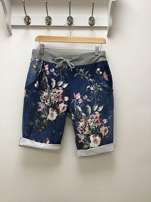 Dark Denim Floral Shorts