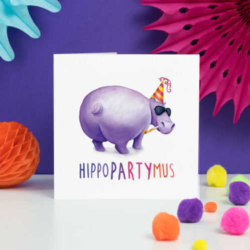 Hippo Party Mus Greeting Card