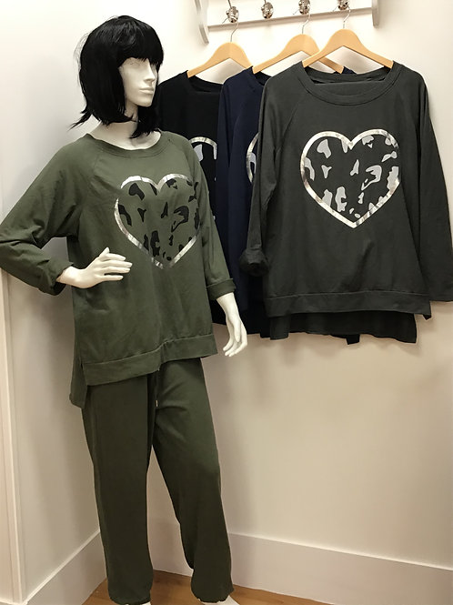 Leopard heart long sleeve lounge set