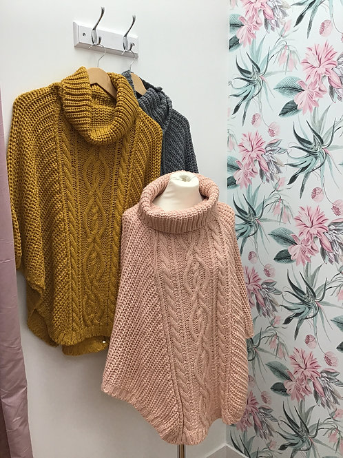 Cable knitted cowl neck poncho