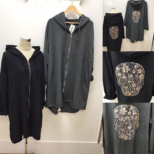 Hooded Jacket With Skull Detail