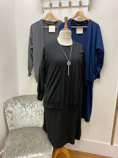 Jersey shift dress with jacket