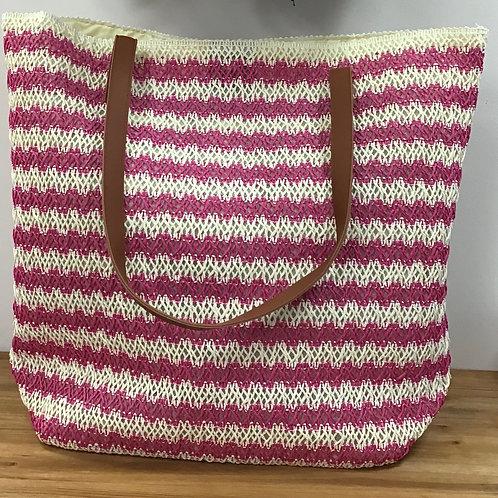 Straw weave pink tote bag