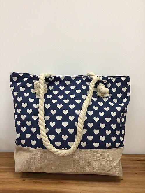 Hearts tote bag blue